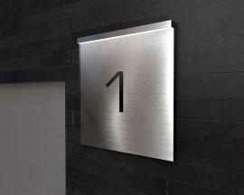 edle designer hausnummer aus edelstahl mit led beleuchtung home pinterest home home decor. Black Bedroom Furniture Sets. Home Design Ideas