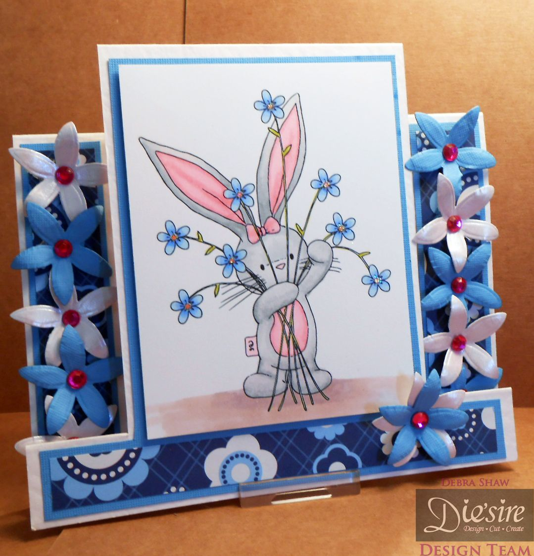 Bunny Step - Die'sire Forget Me Not, Bebunni Stamp colorued with Spectrum Noir pens, Centura Pearl,  Collall All Purpose, 3D Gel and Tacky glue - Glitter, paper and gems @spectrumnoir #spectrumnoir #crafterscompanion