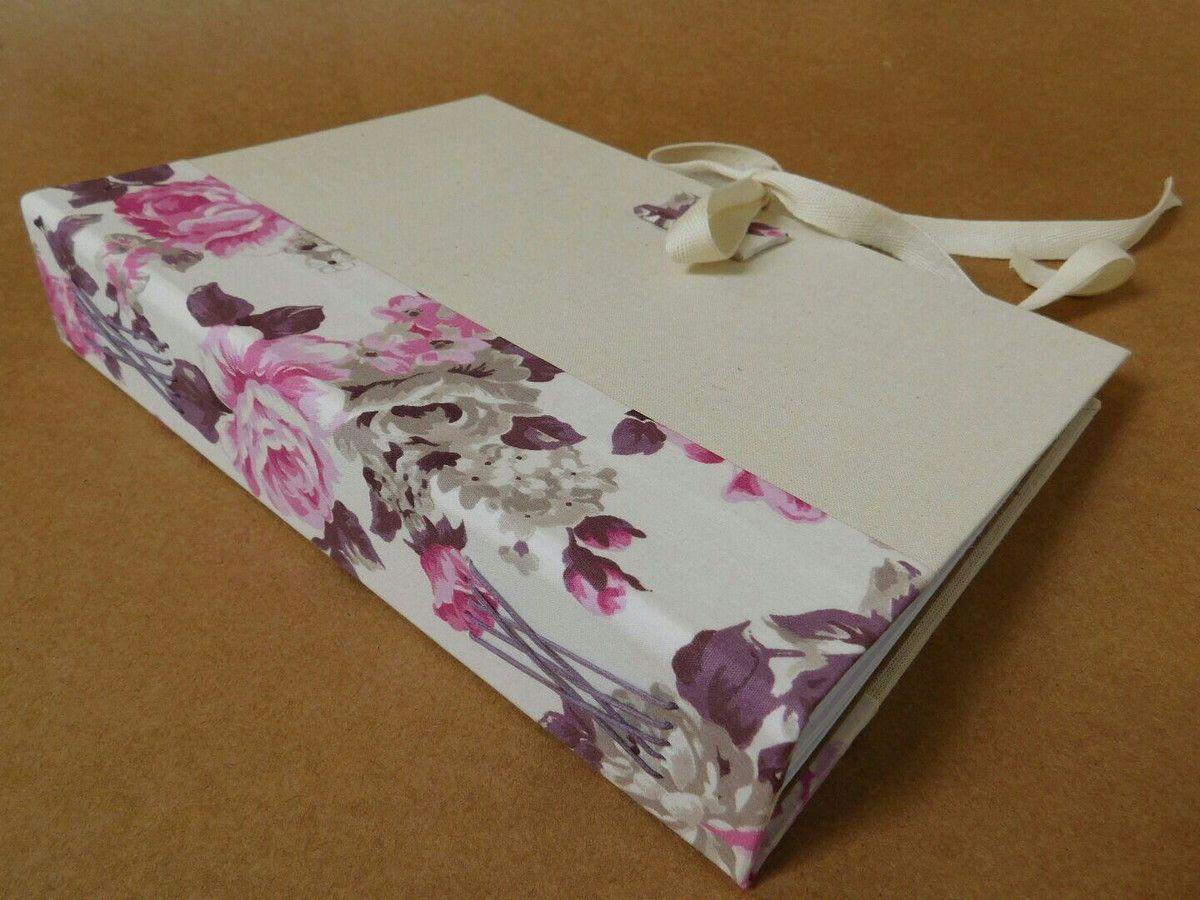 Lindo Caderno Floral Romantico Todo Forrado Em Tecido Algodao Cru