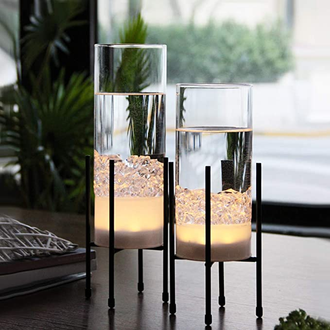 Mj Premier Plant Table Glass Vase Flower Vase Led Lights Battery Operated Led Timing Function Terrariums With Metal Stand I Vase Set Glass Table Clear Vases