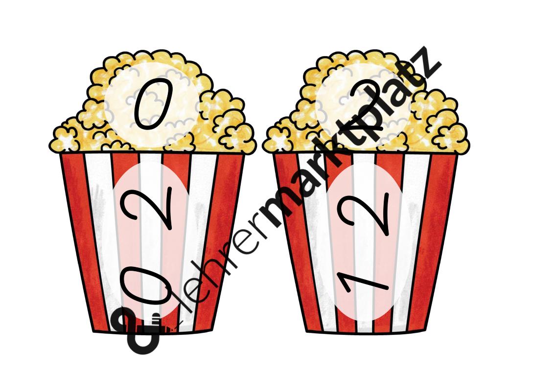 Multiplikation 2 Tafelmaterial Popcorntuten