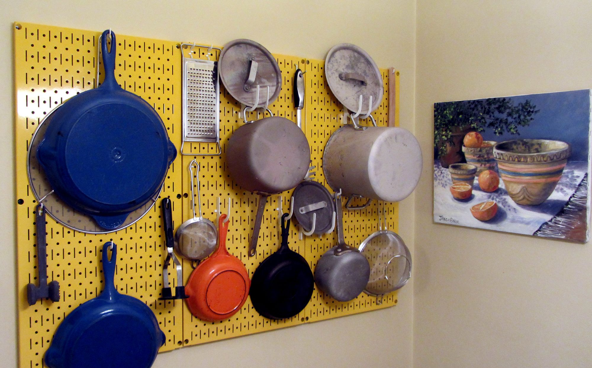 Kitchen Pegboard Organizer Kit Pots & Pans Rack - Yellow ...