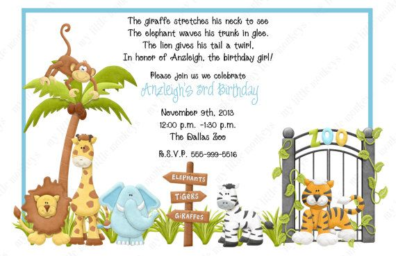 Awesome FREE Template Zoo Themed Birthday Party Invitations
