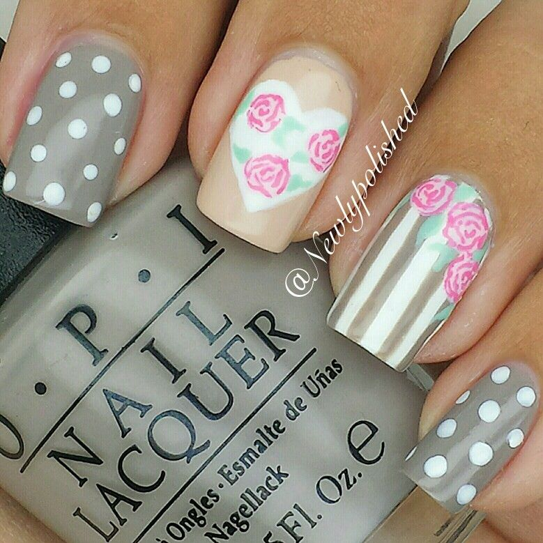 A mix and match mani with French quarter for your thoughts! /Elli ...