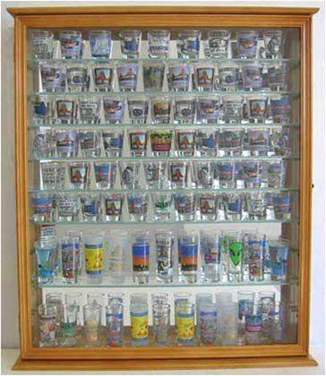 110 Shot Glass Display Case Cabinet Holder Rack Mirror Back Glass