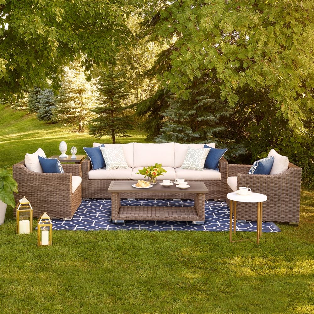 Allen Roth Fulton Ridge 5 Piece Conversation Set Lowe S Canada Modern Outdoor Spaces Garden Furniture Design Outdoor Living