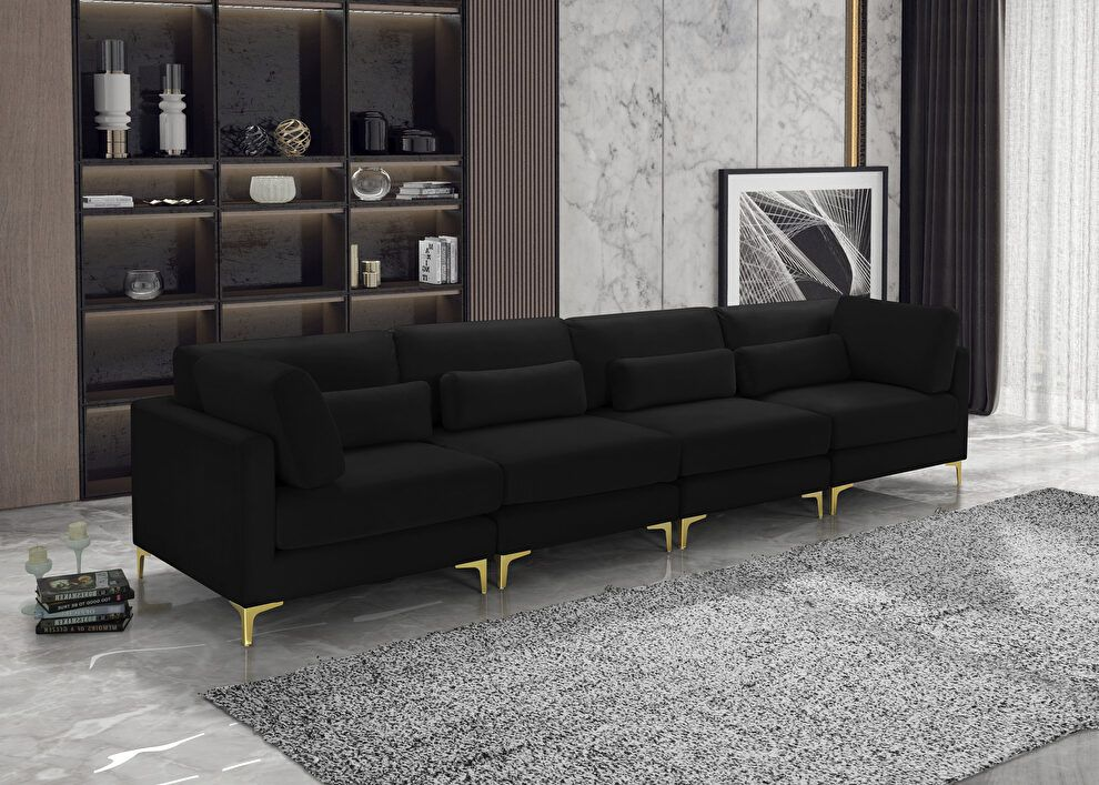 Julia Ii Black Sofa 605black S142 Meridian Furniture Fabric Sofas Fabric Sofa Sofa Furniture