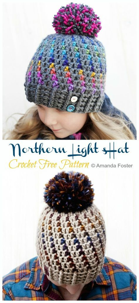 Northern Lights Beanie Hat Crochet Free Pattern - Crochet & Knitting