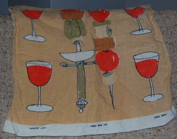 Vintage Vera Neumann Linen Tea Towel with by madformidcentury, $12.00