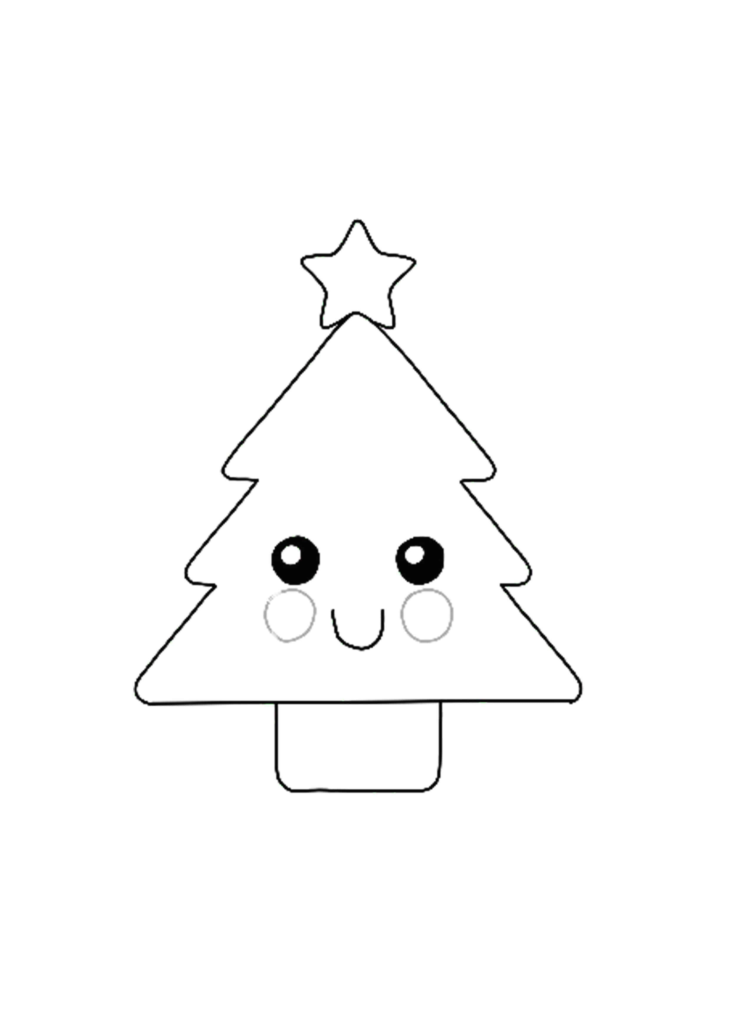Kawaii Christmas Tree Coloring Page Printable Christmas Coloring Pages Free Printable Coloring Sheets Christmas Tree Coloring Page