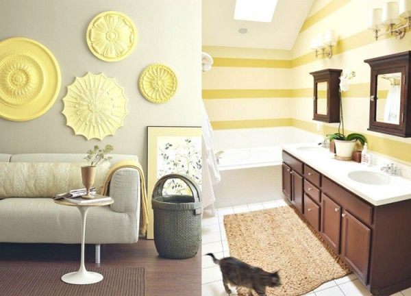 Ceiling medallions painted in different shades of yellow for wall ...