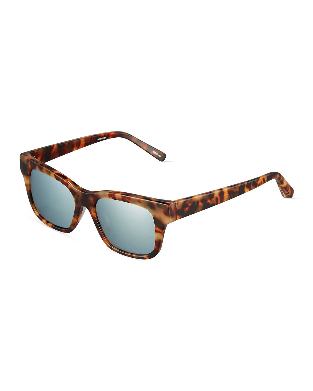 Elizabeth and James Stockton Modified Rectangle Havana Plastic Sunglasses, Tortoise/Light Gray