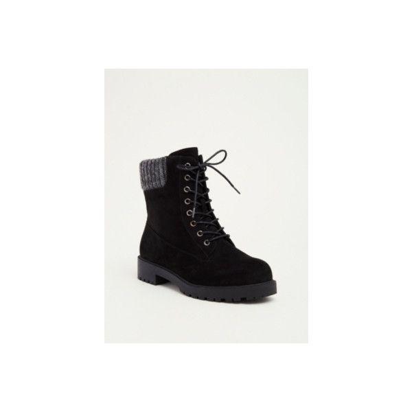 e7720d06a9fb Torrid Wide Width Sweater Knit Top Combat Boots - Wide Width ( 52) ❤ liked