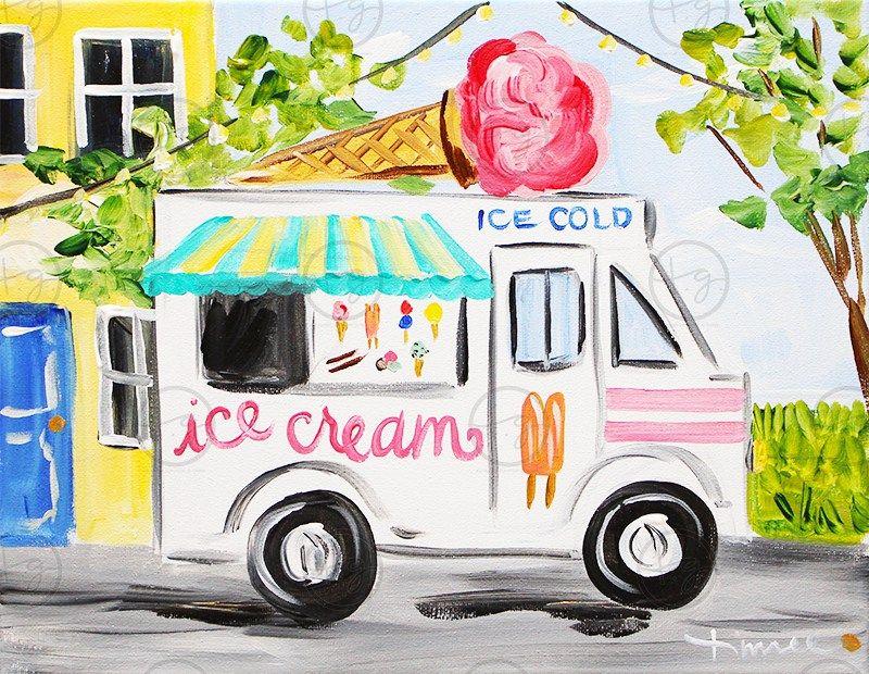 Here Comes The Ice Cream Man Children Watercolor  Wall Art Print