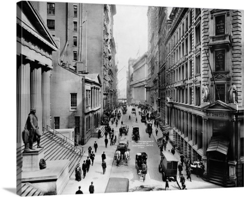 Premium Thick Wrap Canvas Wall Art Print Entitled A View Down Wall Street From Nassau Street In New York City 1911 New York Photos Old Photos Vintage New York