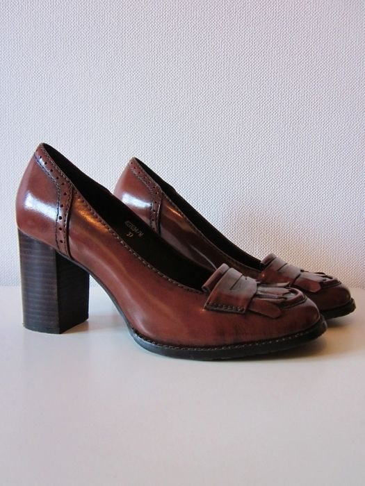 Heelloafer Loafer Pumps Collegeschuhe 37 Leder braun Vintage Blogger Preppy
