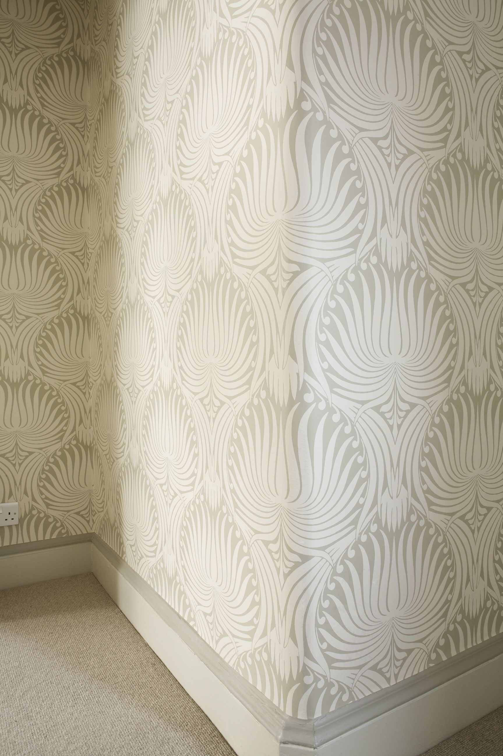Farrow Ball Lotus Wallpaper BP2009 With Skirting In Slipper Satin Paint