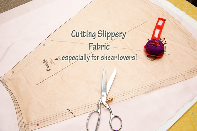 Way back when, when I did this post on working with silks, there was a very clever reader that gave me a great technique that I've used ever since. Slippery fabrics can be a b*%&^! to cut. Ugh!...