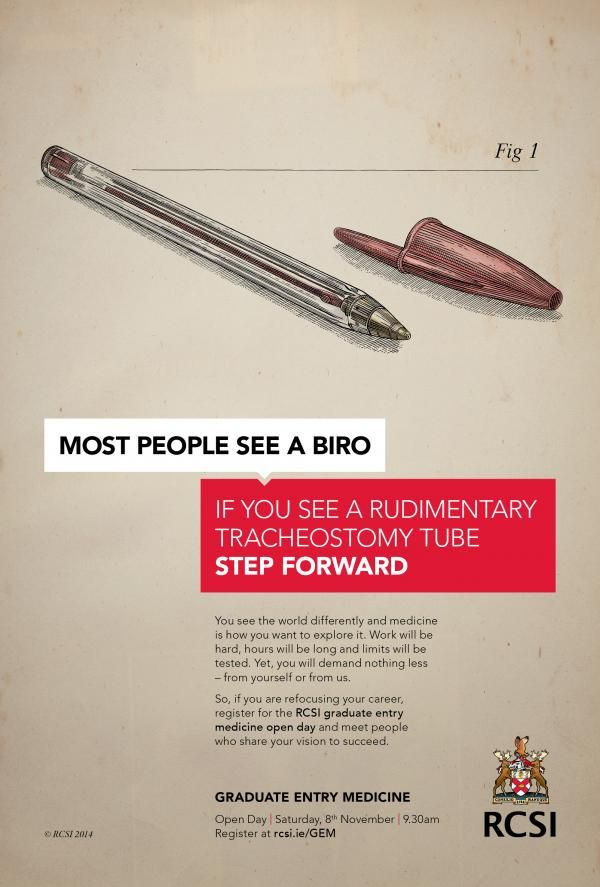 The Print Ad titled Biro was done by Publicis Dublin advertising agency for brand: Royal College of Surgeons in Ireland/ RCSI in Ireland. It was released in the Oct 2014.