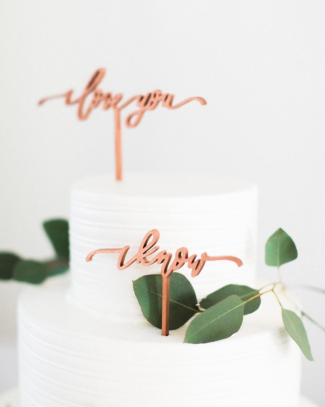 I love you i know cake topper with eucalyptus simple wedding cake