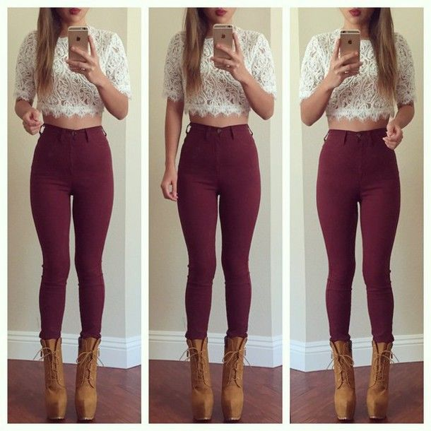 burgundy leggings outfit - Google Search - Very Cute Outfits With Leggings My Style ✌ Pinterest More