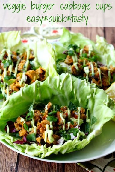 Veggie Burger Cabbage Cups- an easy, quick, tasty meal option!