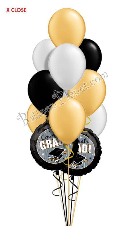 Classy Grad Balloon Bouquet 12 Balloons Graduation Balloons