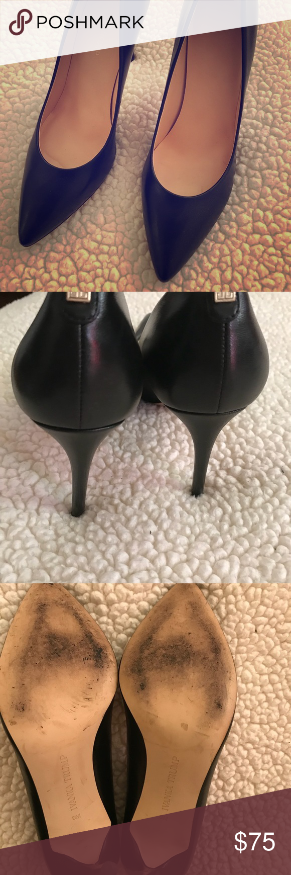 Ivanka Trump pointed toe black leather pump Barely worn black pump, stylish and sleek wear with jeans, slacks or formal wear. Ivanka Trump Shoes Heels