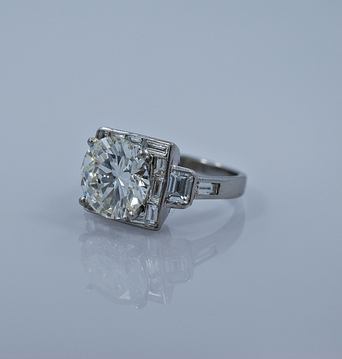 Vintage 6.42ct. Diamond & Platinum Art Deco Style Engagement Ring With G.I.A. Certificate - J35191 by GesnerEstateJewelry on Etsy https://www.etsy.com/listing/245508168/vintage-642ct-diamond-platinum-art-deco