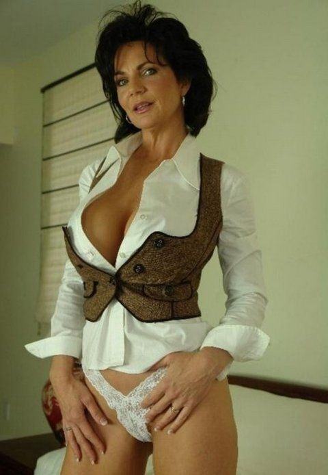 Crazy hot busty brunette milf