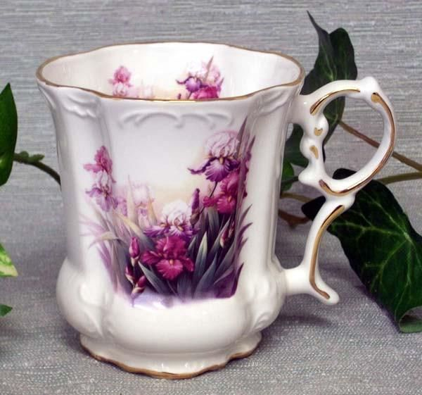 Set of 2 Iris Victorian Tankards Floral Mugs
