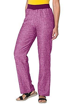 bdfc5defa4a69 Woman Within Plus Size Linen-Blend Pants (Berry Pink