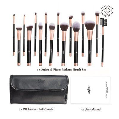 anjou 16 pieces makeup brush set with pu leather roll