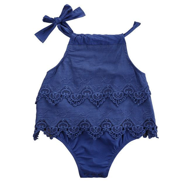 f15d1c5466e7 Newborn Baby Girl s Katie Lace Sleeveless Lace Romper