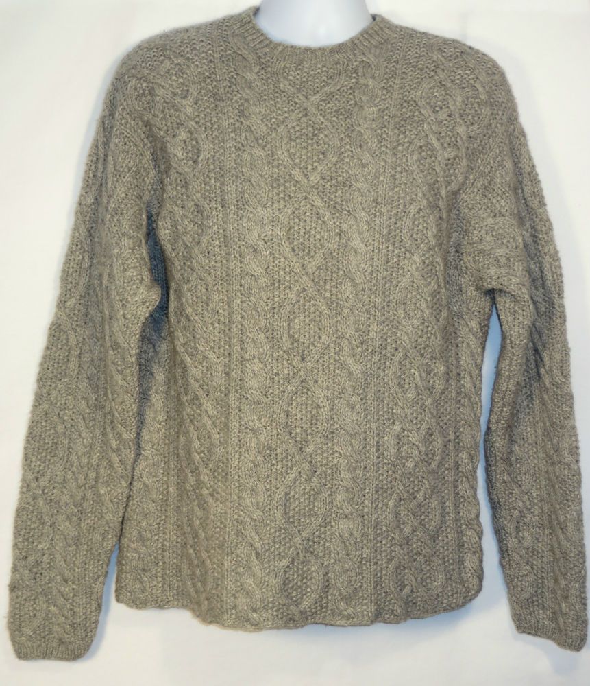 Thick and warm and ready to wear.  Mens J. Crew Shetland Wool Handknit Aran Fisherman Style Sweater Grey L Large