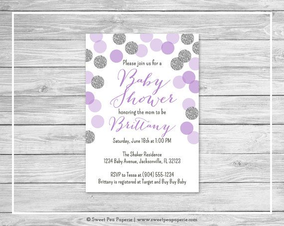 Purple and silver baby shower invitation printable baby shower purple and silver baby shower invitation by sweetpeapaperieshop filmwisefo