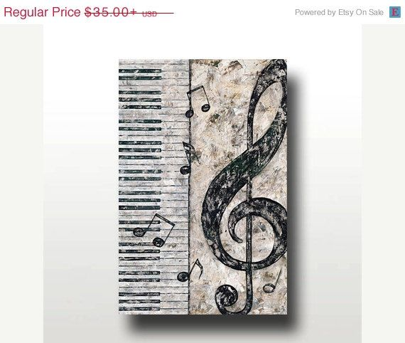 Print Or Giclee Reproduction Piano And Treble Clef Perfect