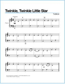 Twinkle Twinkle Little Star Free Printable Sheet Music For