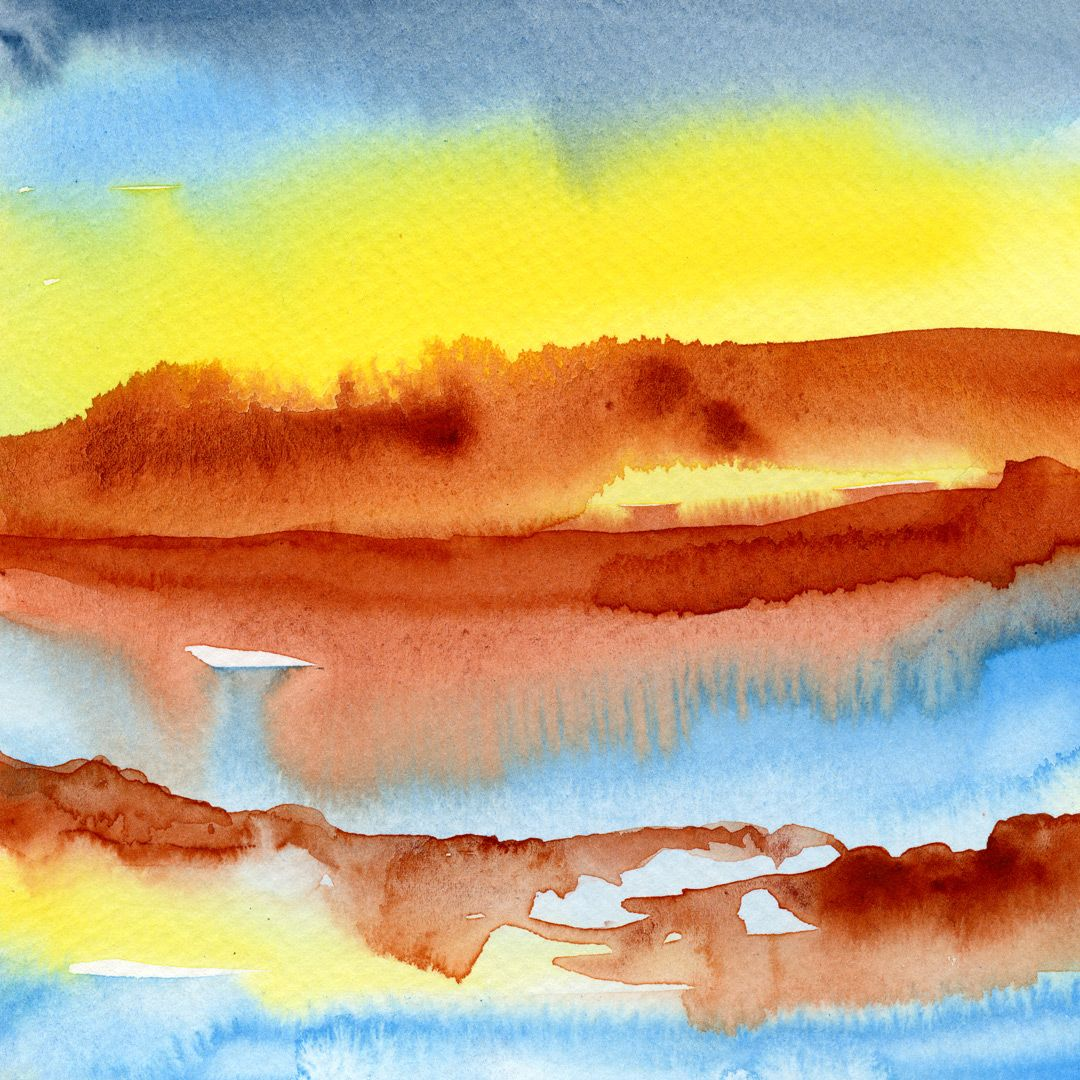 Buoyant Abstract Watercolor Painting Abstract Watercolor
