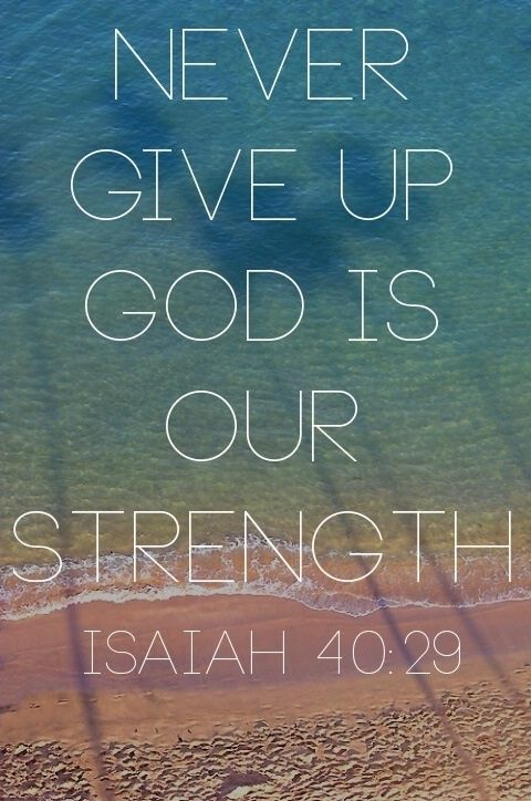never give up god is our strength isaiah inspirational