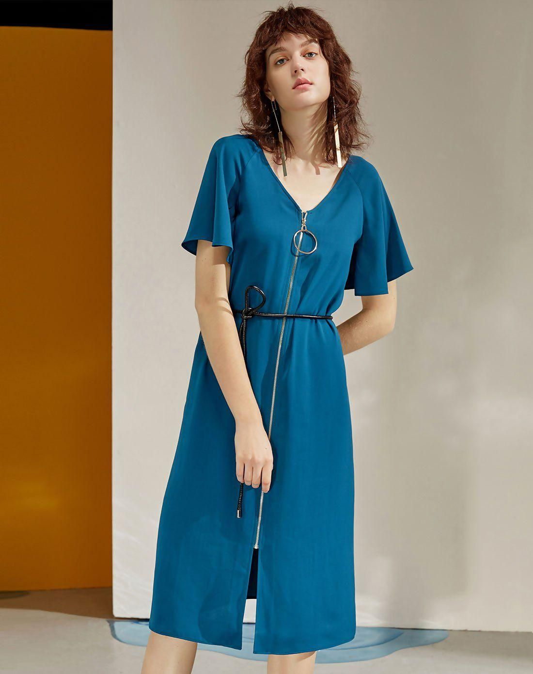 #VIPme (VIPSHOP Global) - #ARKMIIDO Marine Blue V Neck Short Sleeve Knee Length Women's Dress - AdoreWe.com