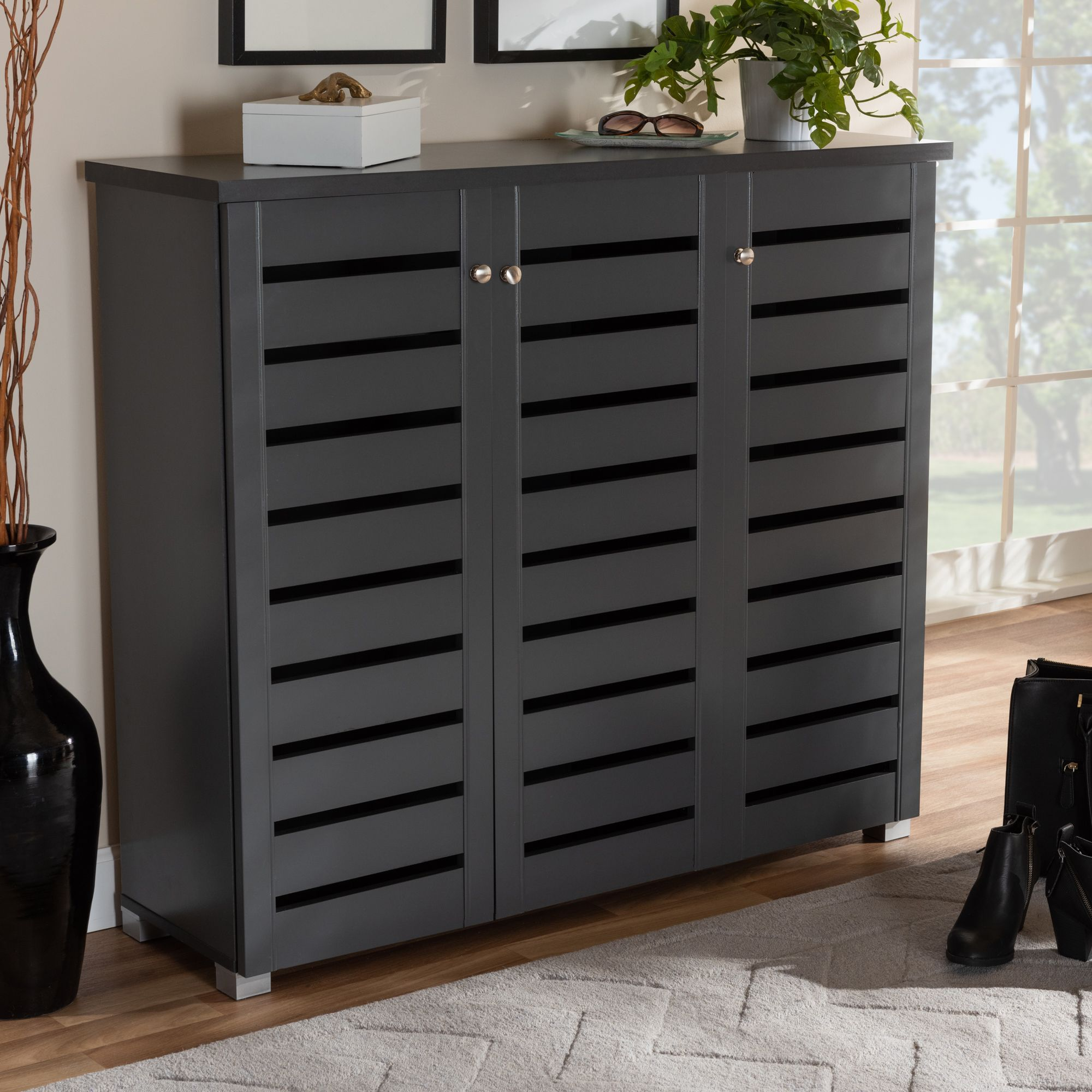 Baxton Studio Adalwin Modern And Contemporary Dark Gray 3 Door Wooden Entryway Shoe Storage Cabinet Shoe Storage Cabinet Entryway Shoe Storage Storage Cabinet