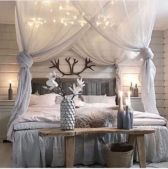 O i e interior design pinterest diy bedroom for How to drape a canopy bed