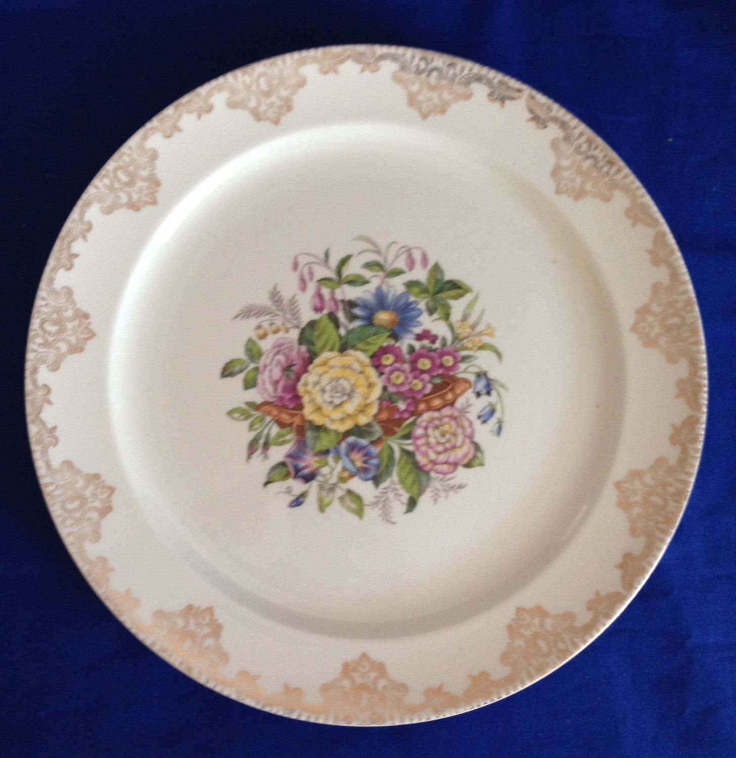 Decorative Dinner Plates 1940's Sheffield China Floral 23 Karat Gold Scroll Border