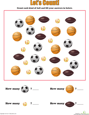 Learning To Count Sports Balls Worksheet Education Com Creative Curriculum Preschool Sports Lesson Plans Sports Theme Classroom