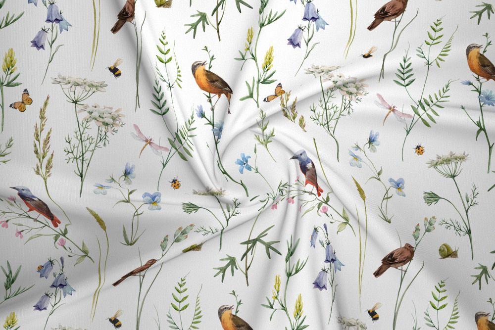 Dzianina Dresowa Drapana Ptaki I Polne Kwiaty Na Bieli House Of Cotton Watercolor Pattern Sweatshirt Fabric Fabric Houses