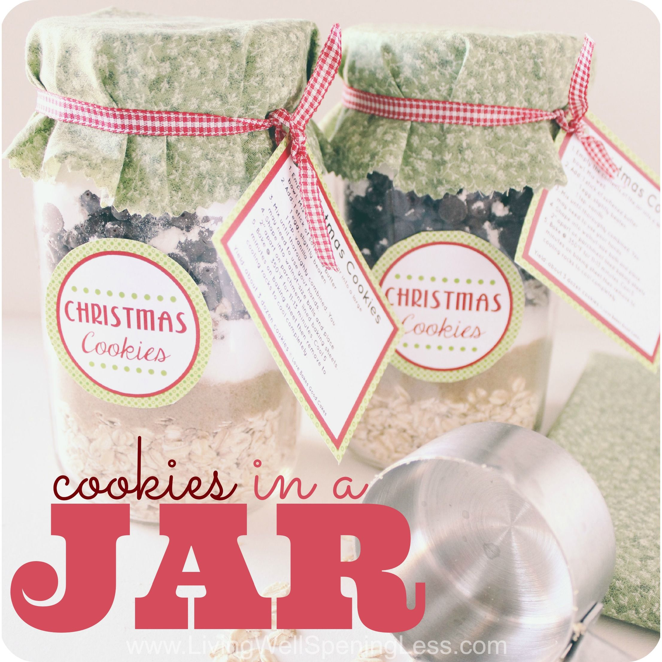 Cookie mix in a jar frugal jar and gift