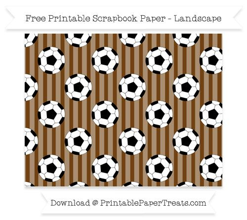 Landscape Sepia Striped Large  Soccer Ball Pattern Paper