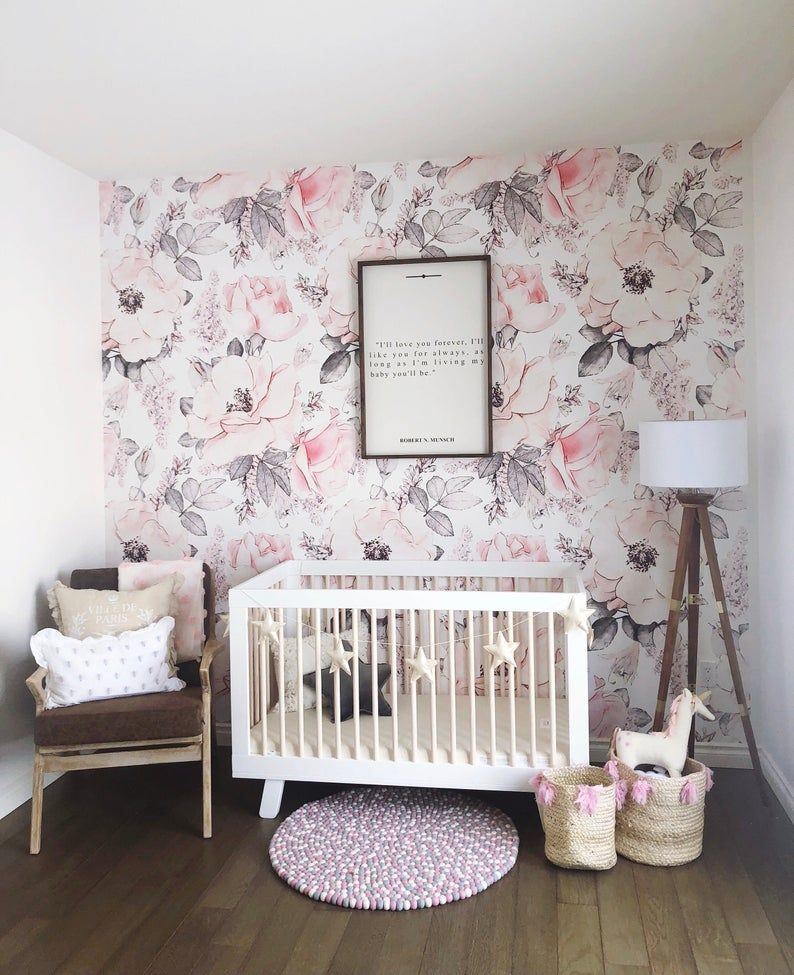 Snowy Rose Giant Pink And White Peony Removable Wallpaper Etsy Baby Girl Wallpaper Nursery Wallpaper Girl Room