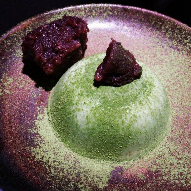 my photo : matcha pudding with red beans paste